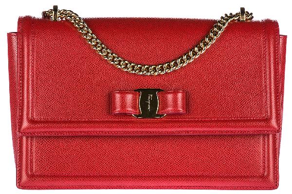 Salvatore Ferragamo Women's Leather Cross-body Messenger Shoulder Bag Ginny In Red
