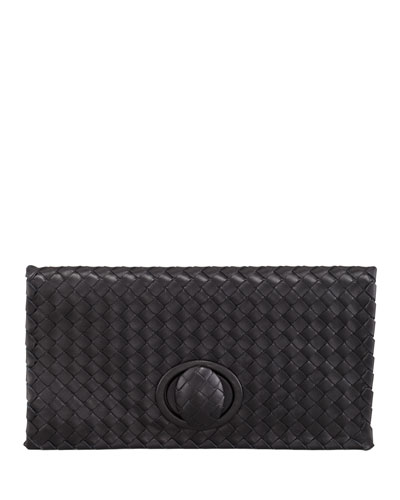 Bottega Veneta Intrecciato Turn Lock Clutch In Black