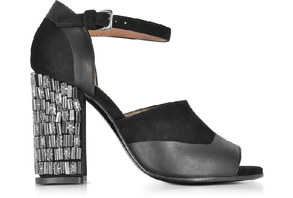 Marni Black Velvet And Leather Heel Sandal W/Crystals