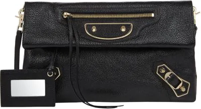 Balenciaga Metallic Edge Lambskin Envelope Clutch Bag, Black/Gold In Dk.Blu
