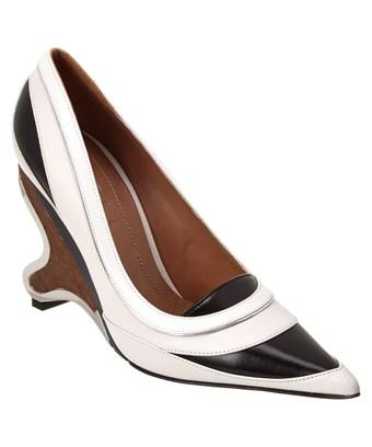 Marni Wooden Heel Leather Pump In White