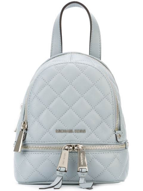 8604687b8a7e Michael Michael Kors Mini Quilted Rhea Zip Backpack In Dusty Blue ...