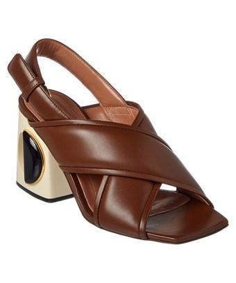 Marni Sabot Leather Slingback Sandal In Brown