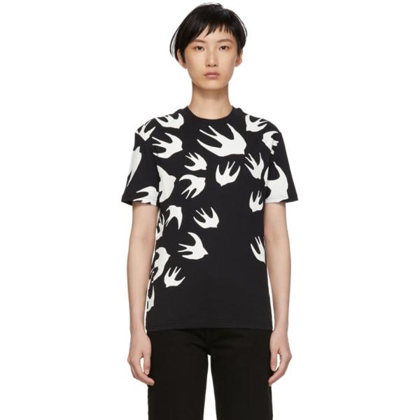 Mcq By Alexander Mcqueen Mcq Alexander Mcqueen Black Swallow Signature T-shirt In 1000 - Dark