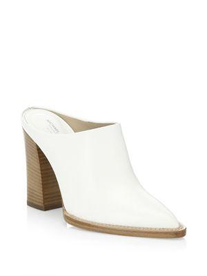 Michael Kors Women's Bond Runway Leather High Block Heel Mules In Optic White