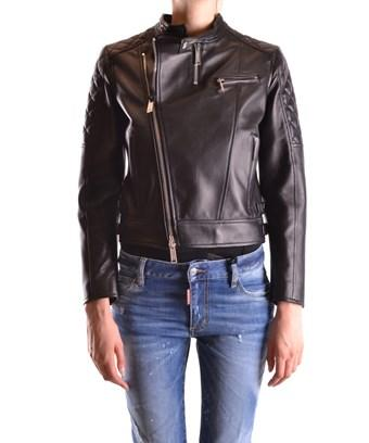 Dsquared2 Women's  Black Leather Outerwear Jacket
