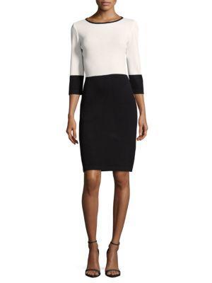 St. John Santana Knit Two-Tone Sheath Dress In Black