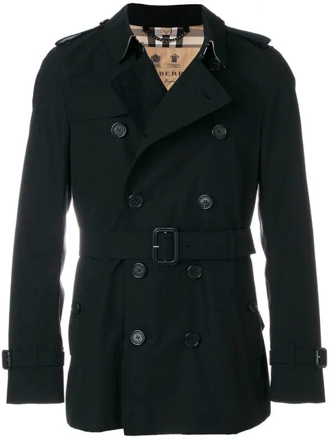 Burberry Kensington Short-Length Cotton Trench Coat - Black In 00100 Black