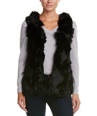 Love Token Contrast Wool-Blend Vest In Black