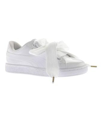 Puma Women's   Basket Heart Patent Sneaker In  White/ White