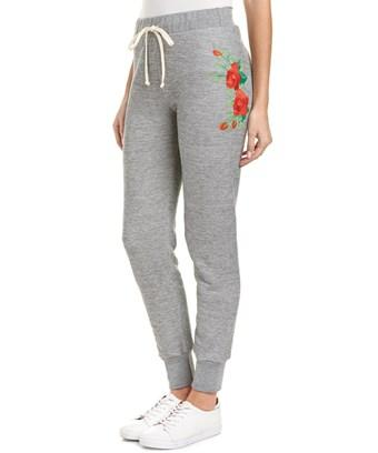 Wildfox Rose Embroidered Jogger Pant In Grey