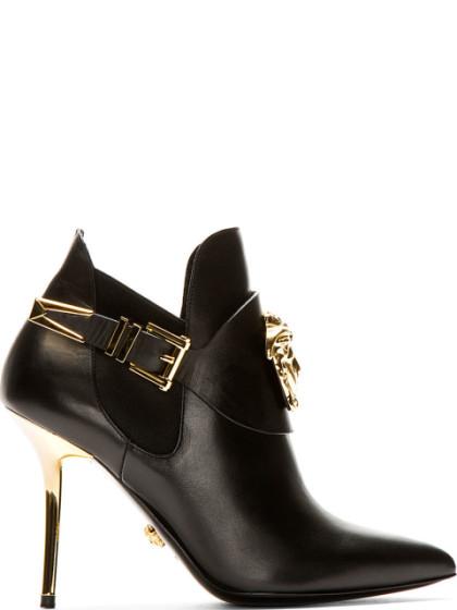 Versace Medusa Head Leather Booties In Black & Gold