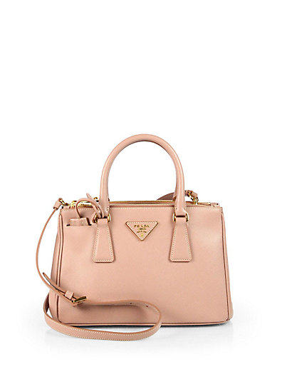 da06e0aef448 Prada Saffiano Lux Medium Double-Zip Leather Satchel In Cammeo-Blush