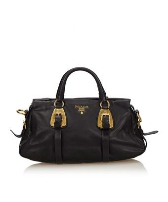 Pre Owned Leather Handbag In Black
