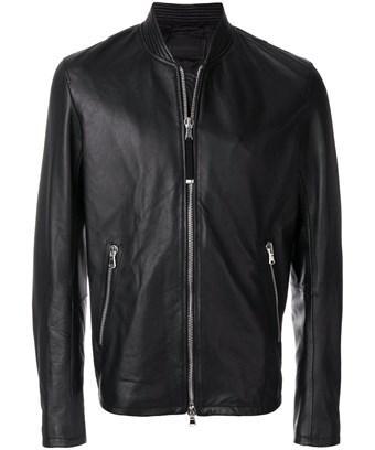 Diesel Black Gold Men's  Black Leather Outerwear Jacket