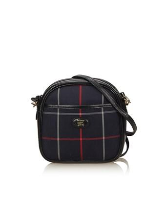 d4dd3cb125 Burberry Pre-Owned: Plaid Nylon Shoulder Bag In Blue X Navy X Red ...