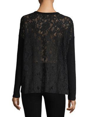 The Kooples Sweet Fleece Lace Back Sweater In Black