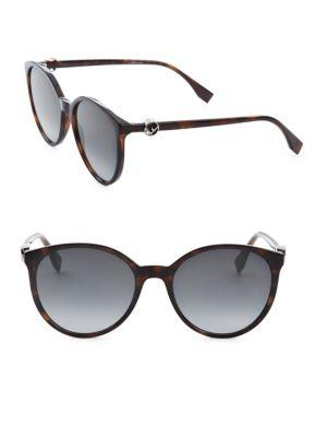 12538f58daf59 Fendi 56Mm Round Sunglasses In Dark Havana