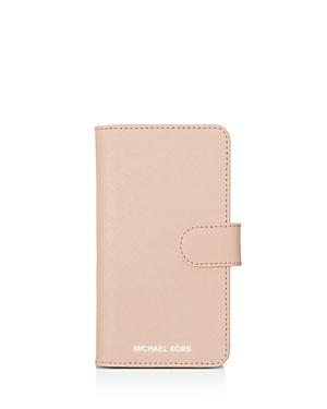 Michael Michael Kors Folio Leather Iphone X Phone Case In Soft Pink