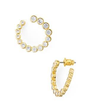 Kate Spade New York Gold-Tone Crystal Bypass Hoop Earrings