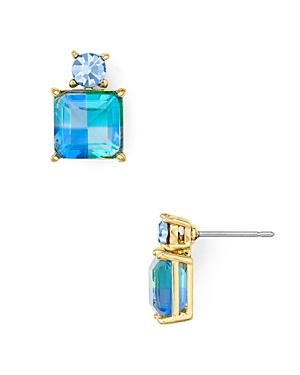 Kate Spade New York Gold-Tone Square Crystal Drop Earrings In Blue