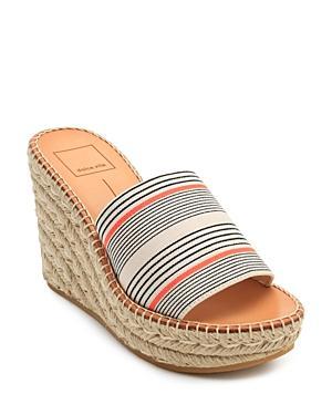 afcdb26da5 Dolce Vita Women's Pim Platform Wedge Espadrille Slide Sandals In Coral  Stripe