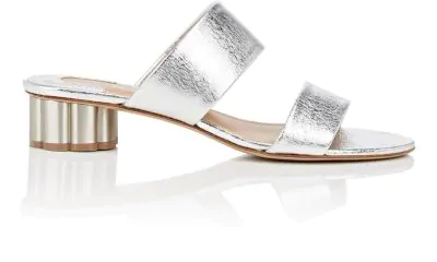 Salvatore Ferragamo Women's Bellunoleather Floral Heel Slide Sandals In Silver