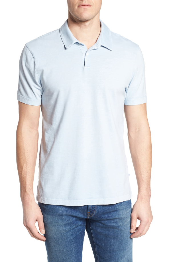 9463623a7b6 James Perse Slim Fit Sueded Jersey Polo In Baby Blue Pigment | ModeSens