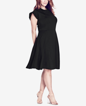 City Chic Trendy Plus Size Ruffled-Shoulder A-Line Dress In Black ...