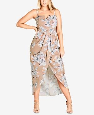 24d5800e880 City Chic Trendy Plus Size Floral-Print Maxi Dress In Paper Floral ...