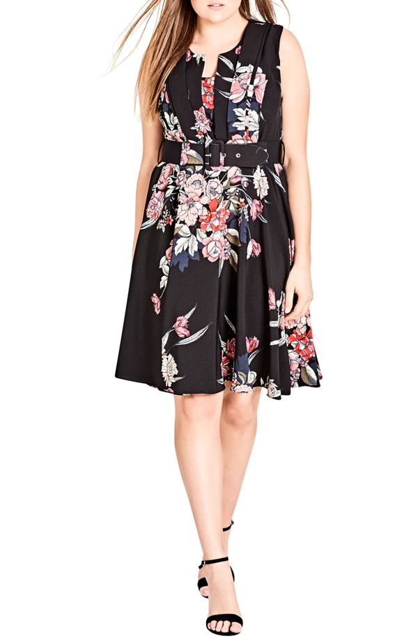 City Chic Trendy Plus Size Belted A-line Dress In Misty Floral