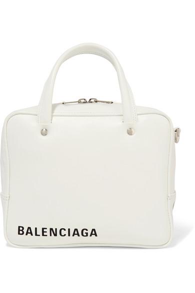 8d2cd533e33bf Balenciaga Triangle Square Xs Aj Printed Leather Shoulder Bag In White