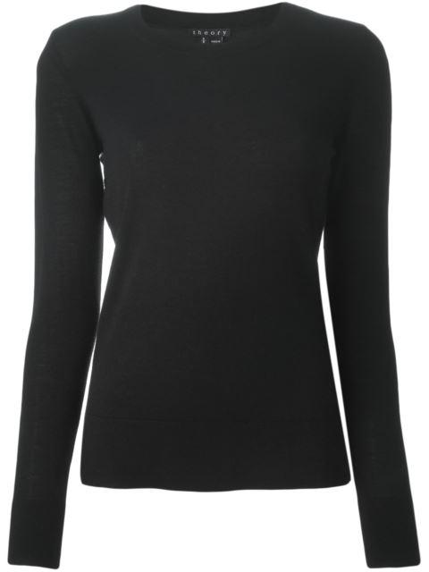 Theory 'Mirzi' Rib Knit Merino Wool Sweater In Black