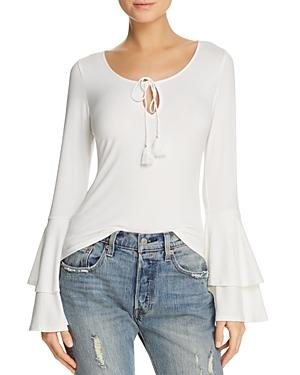 Band Of Gypsies Ribbed Bell-Sleeve Top In Ivory