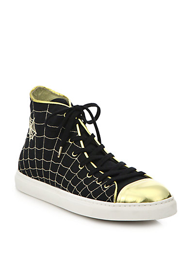 Charlotte Olympia Metallic Web-Embroidered Leather & Canvas Sneakers In Black - Gold