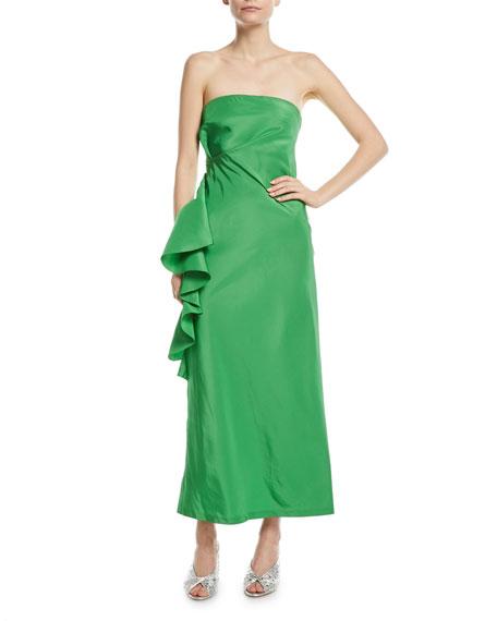 cdd07e35e9bd4 Sachin & Babi Woman Esma Strapless Ruffled Silk Duchese Satin-Twill Midi  Dress Green In