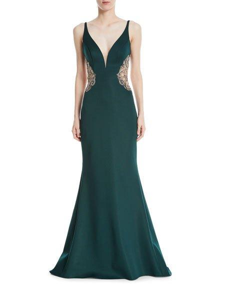 d1c057a38dbaa Faviana Metallic Trumpet Gown W/ Nude Insets In Dark Green | ModeSens