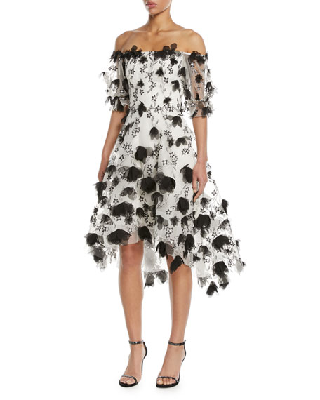 87dc615419 Marchesa Notte 3D Floral Embroidery Off-The-Shoulder Cocktail Dress In  Black/White