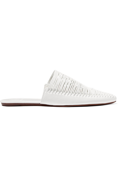 fa01d2077f181 Women's Sienna Woven Leather Pointed Toe Mules in White