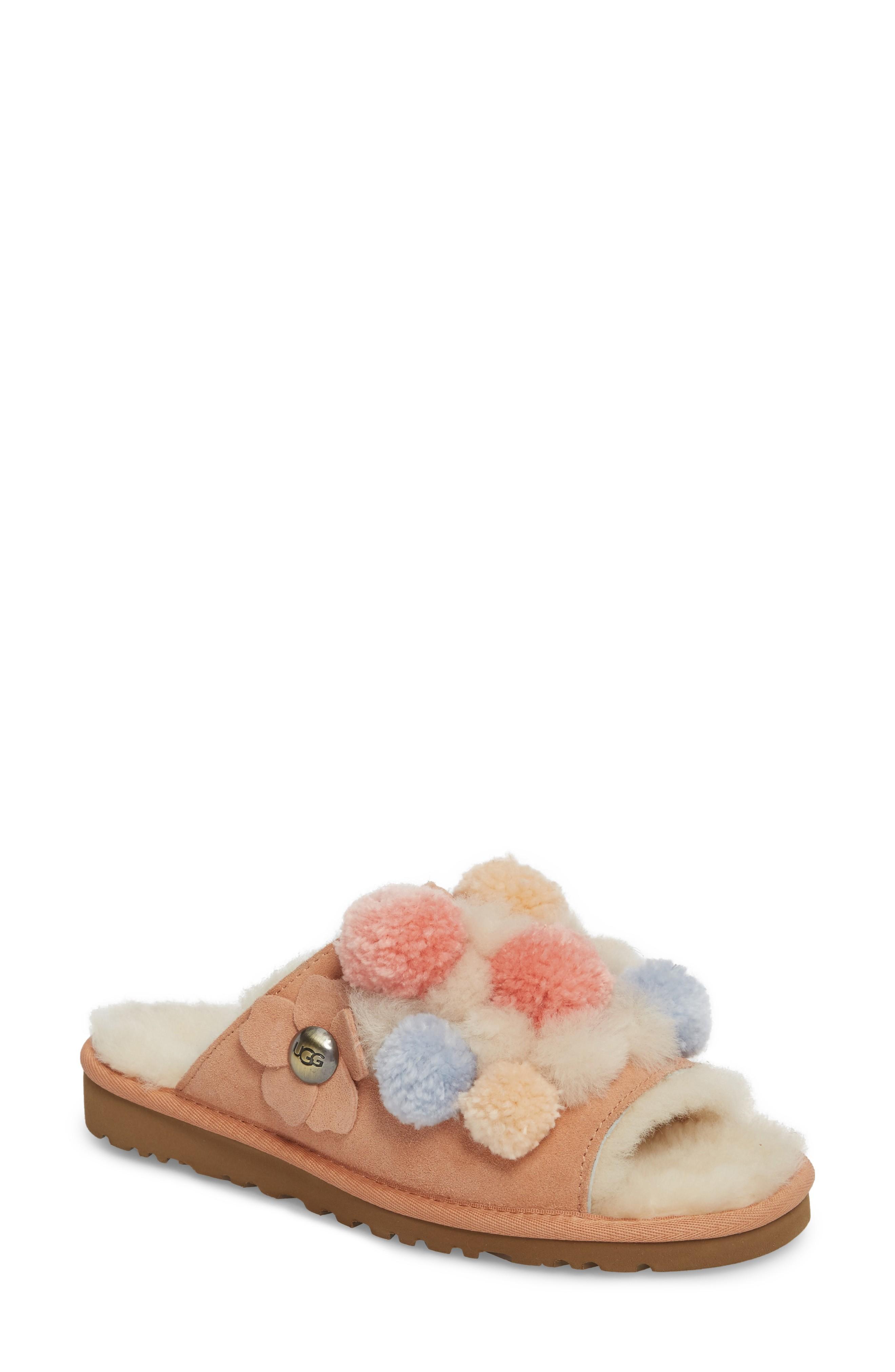 6c778188598 Ugg Clio Pom Pom Slide Sandal in Coral Suede