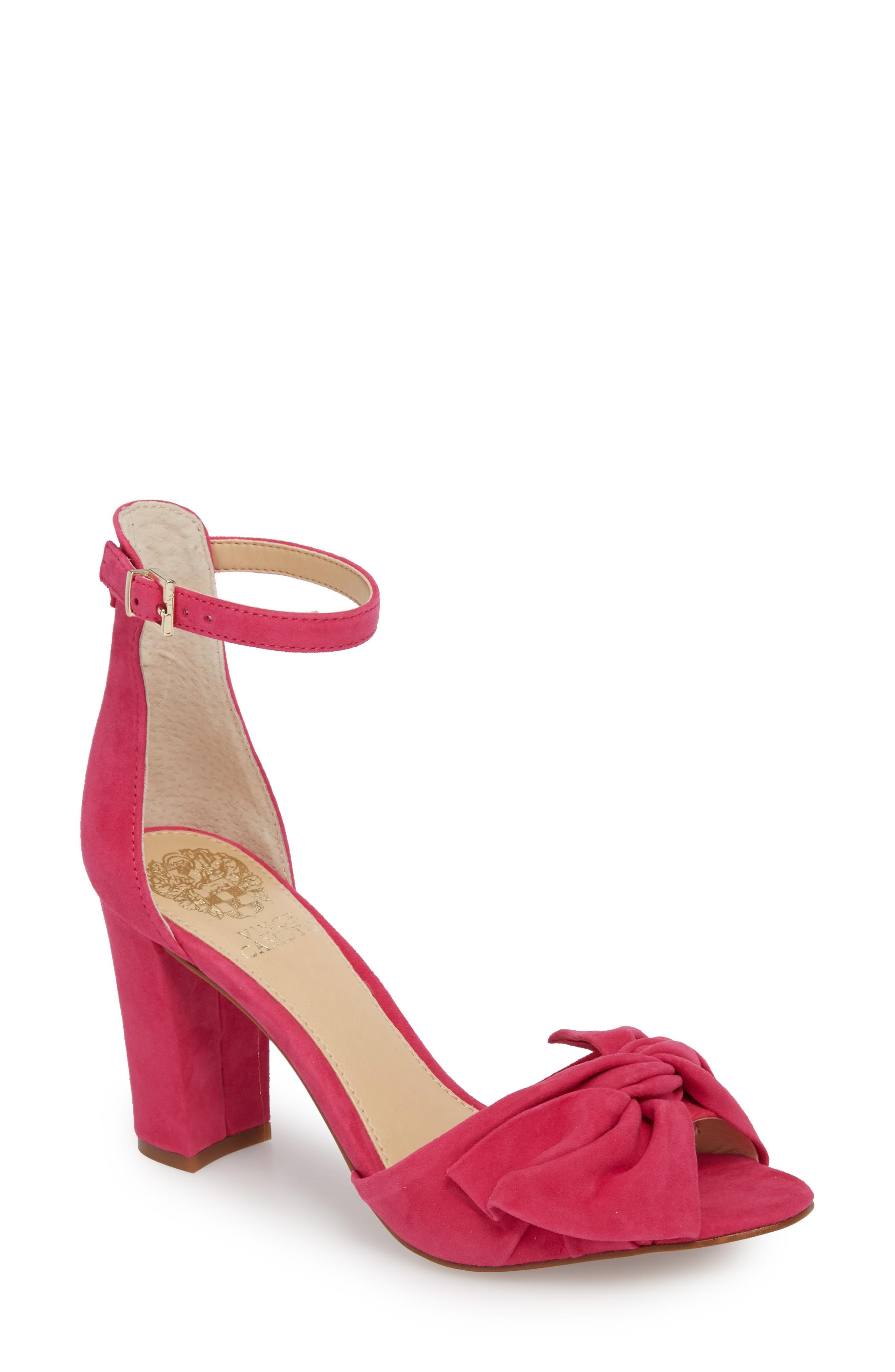 ad54c2959500 A knotted bow adds soft dimension to an otherwise minimalist strappy sandal  lofted by a wrapped block heel. Style Name  Vince Camuto Carrelen Block Heel  ...