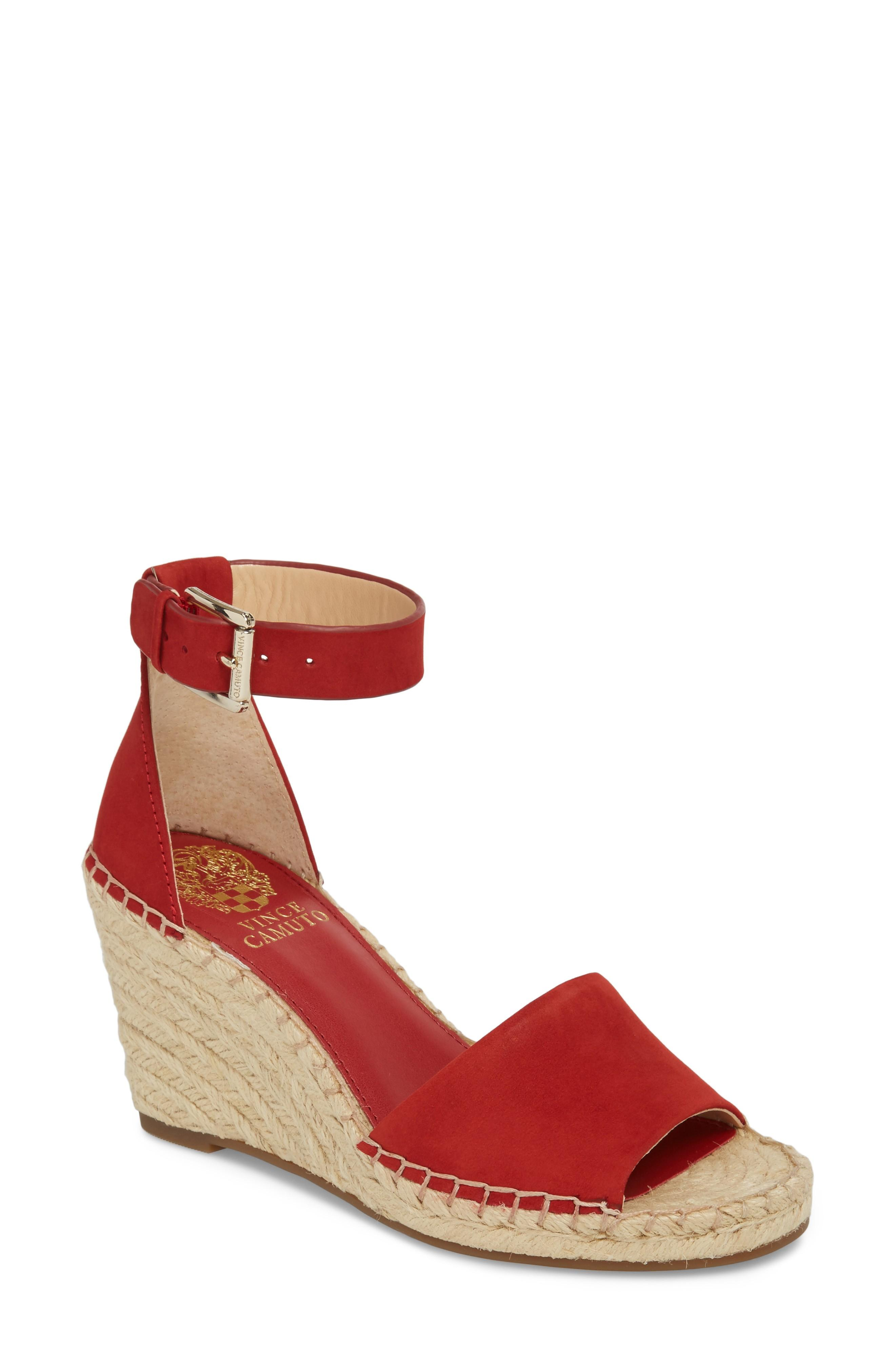 3461ca8ed7b Vince Camuto Leera Wedge Sandal In Cherry Red Leather