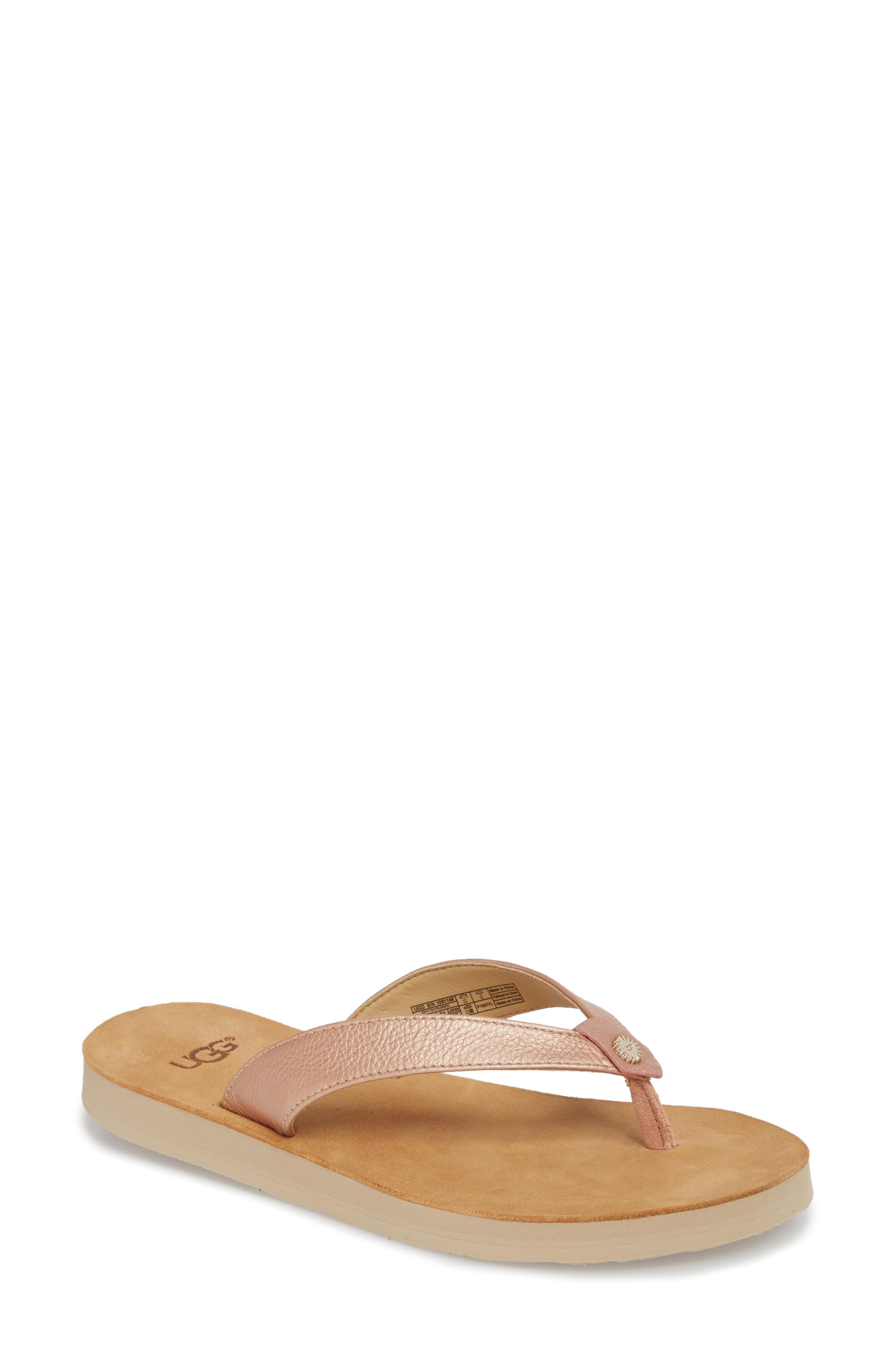 5304609d4f9 Ugg Tawney Flip Flop In Rose Gold Leather