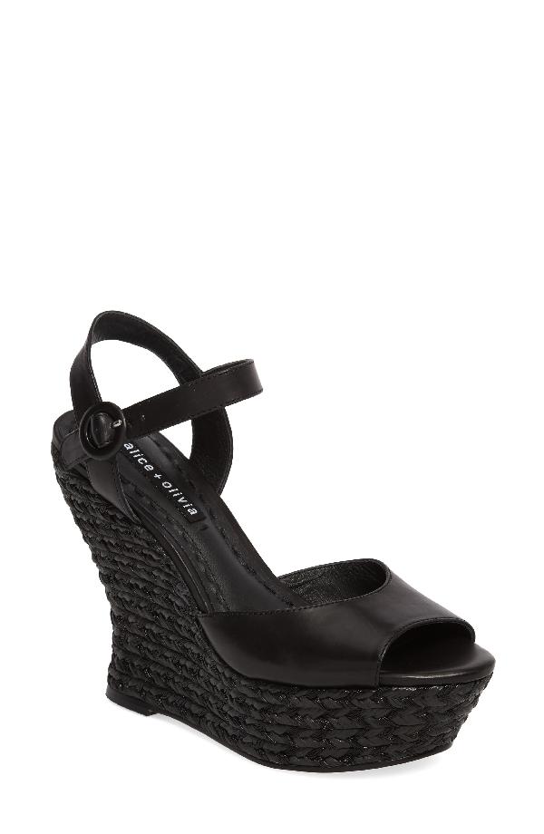 Alice And Olivia Jana Leather Platform Wedges In Black