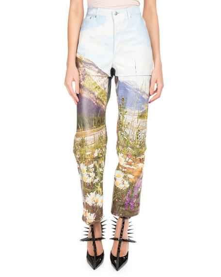 Balenciaga Mountains-Print Tri-Panel Straight-Leg Leather Pants In Multi Pattern