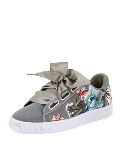 a2003745e56197 ... the upper Suede upper for luxury and comfort Cushioned insole Low-key  design Large satin ribbon laces for a feminine touch The Puma Basket Heart  Hyper ...