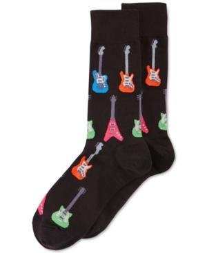 Hot Sox Men's Socks, Electric Guitar Crew In Black