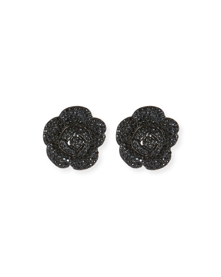 Oscar De La Renta Gardenia PavÉ Button Clip-On Earrings In Jet