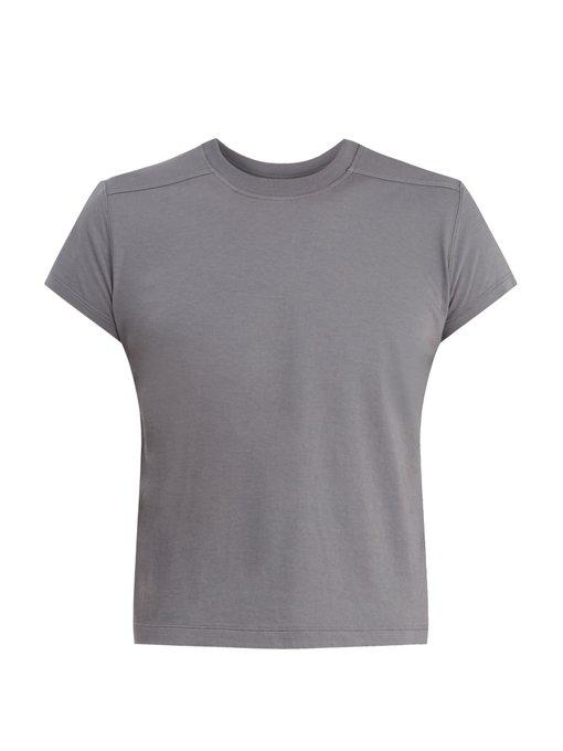 92d4c57f6 Rick Owens Cropped Crew-Neck Cotton-Jersey T-Shirt In Grey | ModeSens