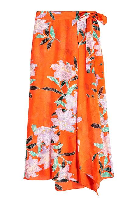 Diane Von Furstenberg Floral-print Cotton And Silk-blend Gauze Wrap Maxi Skirt In Orange